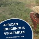 """African indigenous vegetables"" text over woman with child in field of african indigenous vegetables"
