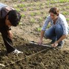 grad students working together on a field trial in Nepal